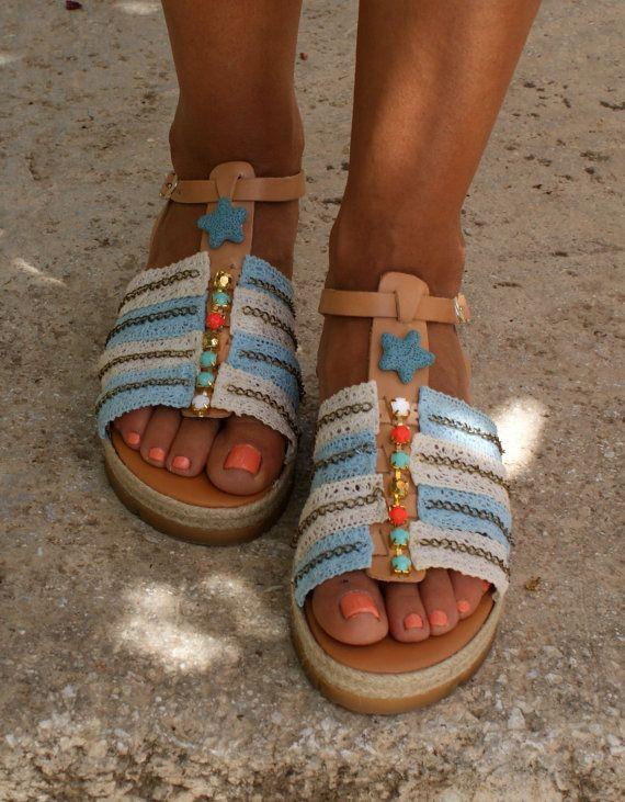 Boho sandals/ Strappy sandals/ Handmade decorated sandals/ Greek leather  sandals/ Boho flats/ Summer shoes/ Platforms sandals/
