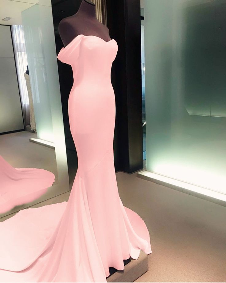 light pink mermaid prom dresses off-the-shoulder evening gowns 2018 sexy