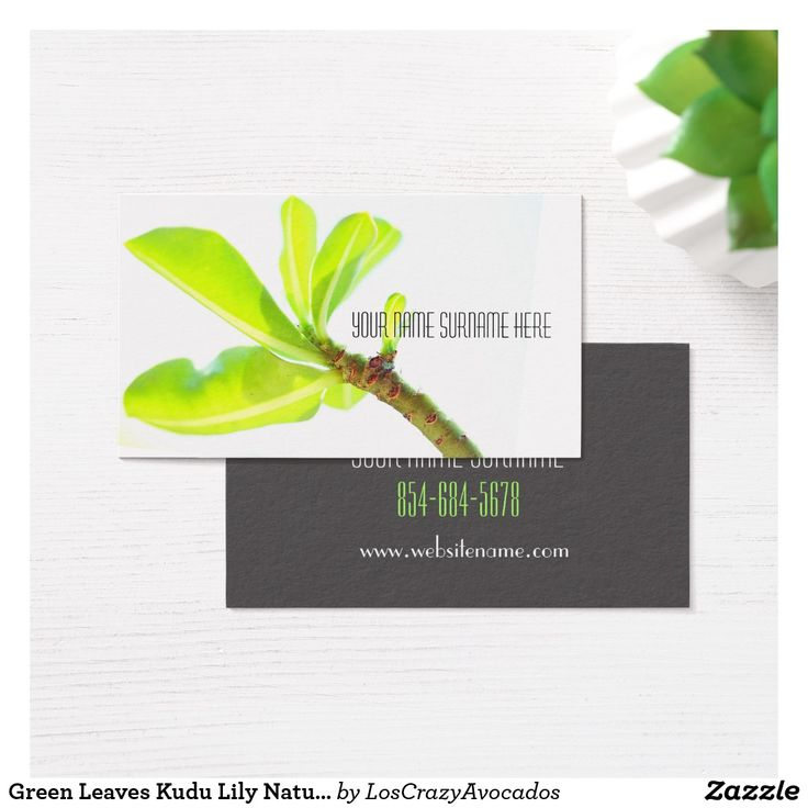 Green Leaves Kudu Lily Nature Feel Business Card