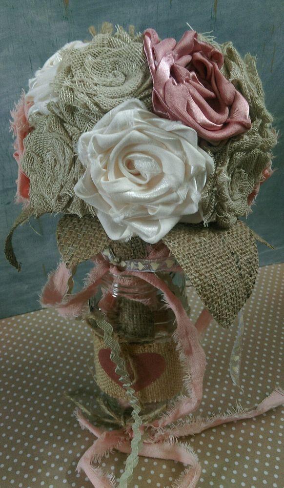 Vintage Shabby chic rustic hessian burlap cream lace blush satin bride bouquet