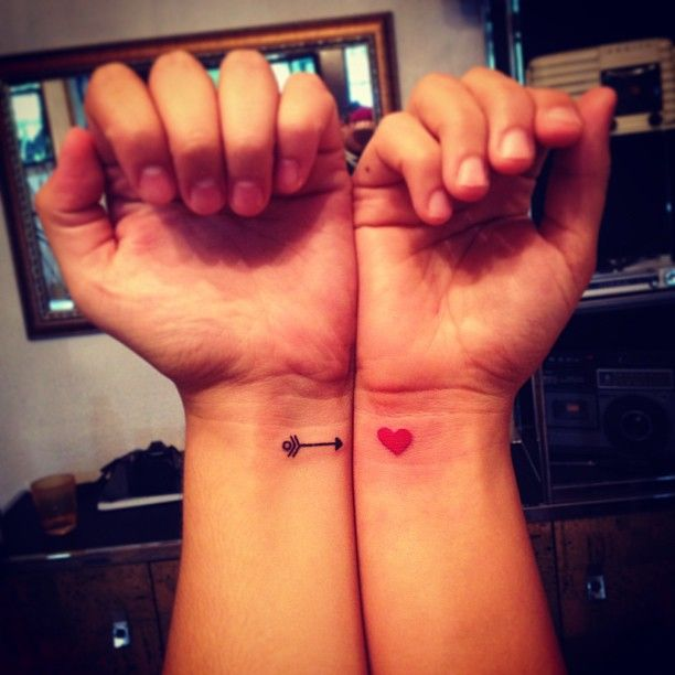 Cute Arrow and Hearth Love Couple Tattoo Idea | Cool Tattoo Designs