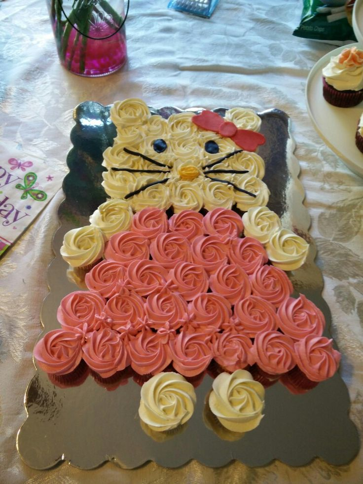 My granddaughters 7th birthday cake, she chose what she wanted me to make. I used mini cupcakes...