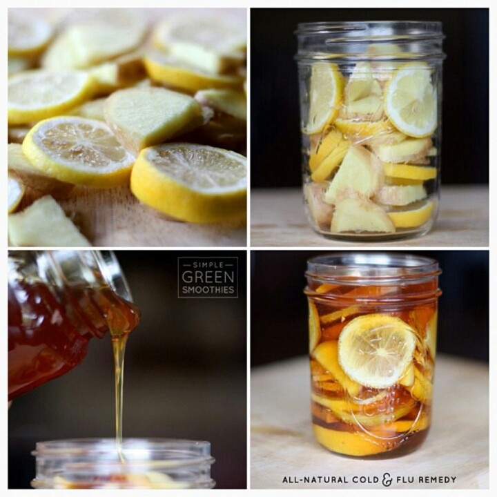 "Winter Sore Throat ""Tea"" - 2 cups  2 lemons cleaned and sliced 2 small pieces of ginger sliced small Honey   In a 12-16 oz. jar combine lemon slices and sliced ginger. Pour honey (organic is best) over it slowly. Make sure when the honey has filled in all the voids, there is enough to cover the top of the lemon slices. Close jar and put it in the fridge, it will form into a ""jelly"". To serve: Spoon jelly into mug and pour boiling water over it. Store in fridge 2-3 months."