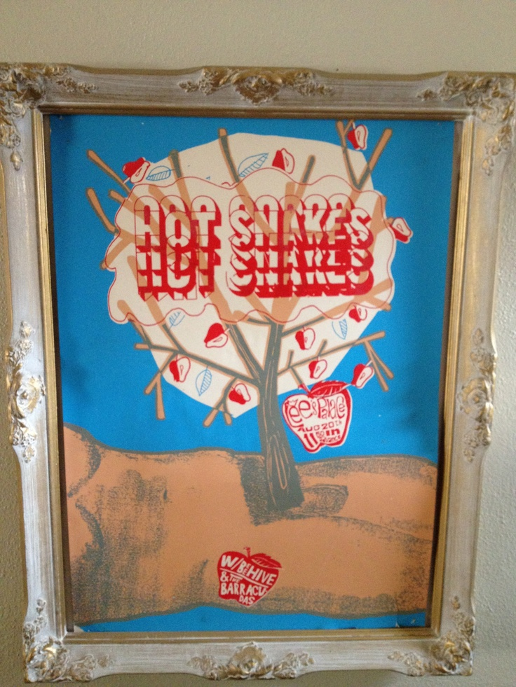 Hot Snakes screenprinted poster , 2002. In another frame made of icing. Alberta kids have a lot of self control and don't just eat those frames.  http://www.gigposters.com/poster/8342_Hot_Snakes.html