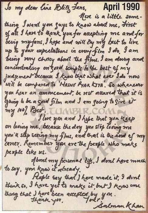 #Bollywood #Flashback - Salman Khan wrote this letter to his fans soon after the release of 'Maine Pyar Kiya'. pic.twitter.com/Z17FaufmSD