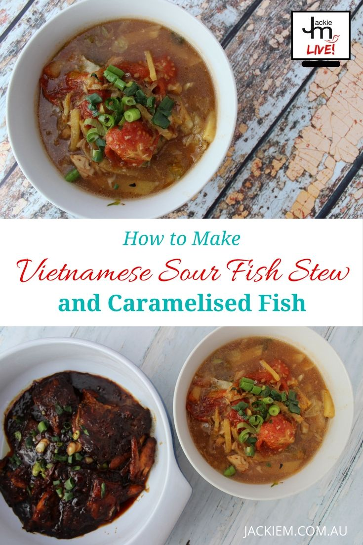 Here's a replay of How to Make Vietnamese Sour Fish Stew and Caramelised Fish from Jackie M's LIVE Asian Kitchen.