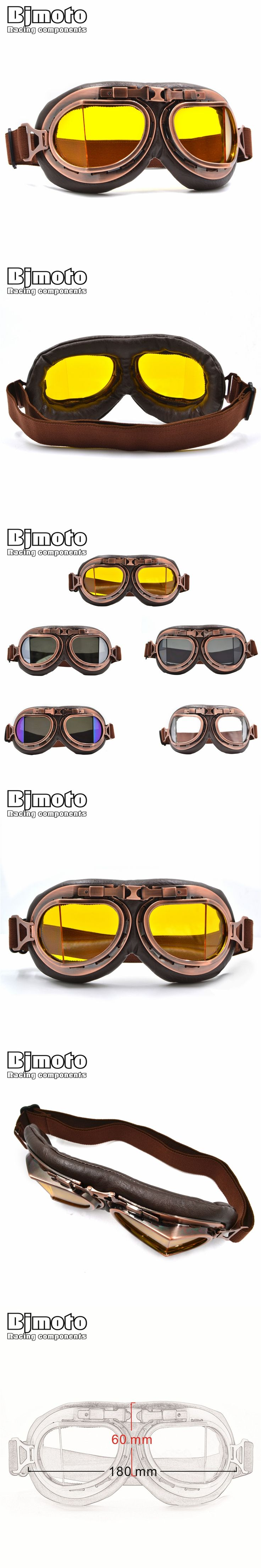 5 color lens 2016 NEW Arrival WWII Vintage for Harley style motorcycle goggles Pilot Motorbike goggles Retro Jet Helmet Eyewear