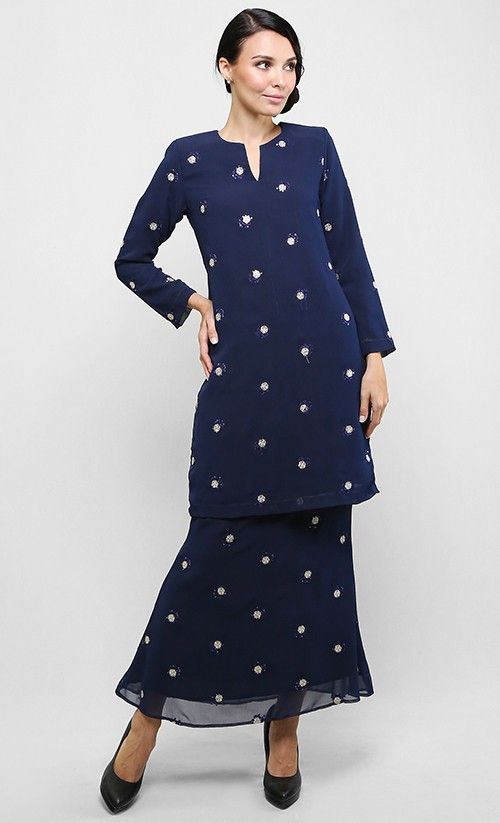 Baju Kurung Chiffon in Dark Blue