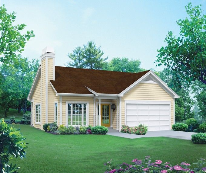 Home Plan HOMEPW76217 - 1281 Square Foot, 3 Bedroom 2 Bathroom + Cottage Home with 2 Garage Bays | Homeplans.com