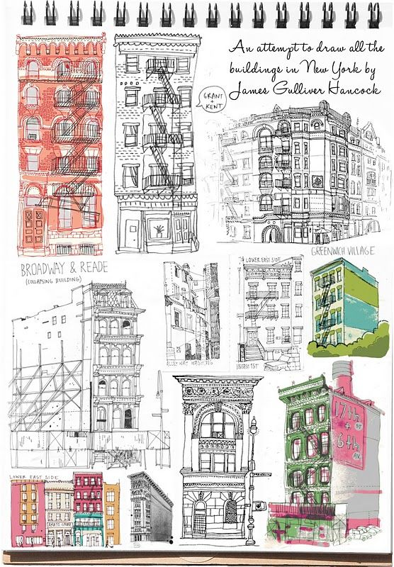 All the buildings in New York by James Gulliver Hancock #illustration #drawing #painting #sketching #buildings #JamesGulliverHancock