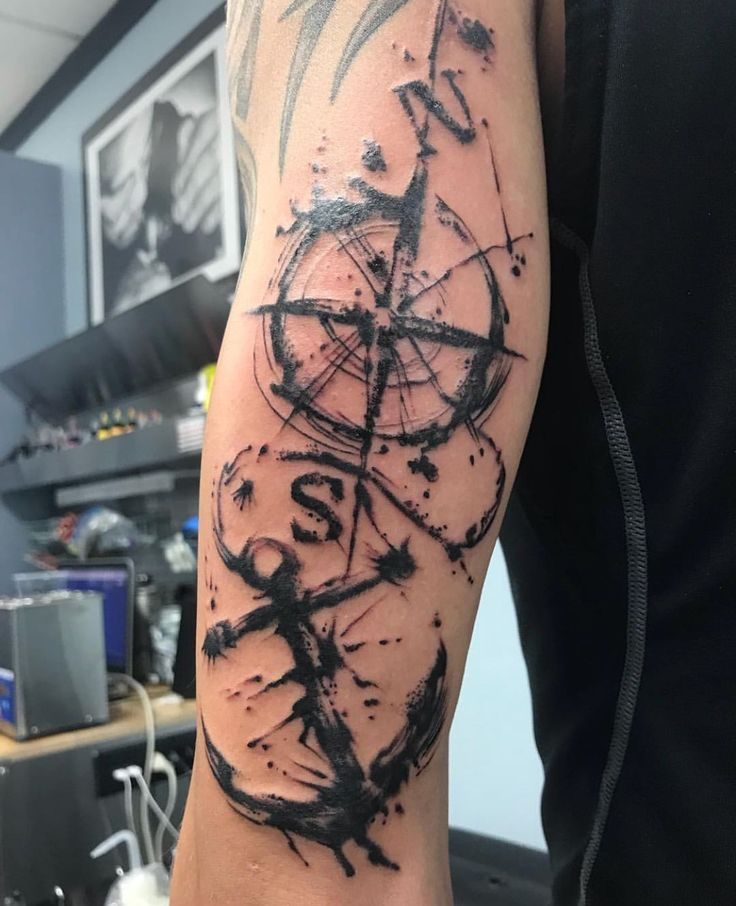 Anchor & Compass Tattoo For Guys