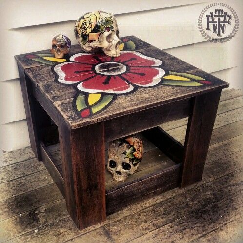 Made from old pallets (skulls also made by me n are for sale) #killingtime #table #pallets #handmade #handpainted #flower #coffeetable #recycled #rose #skulls #fortheworthy #ftw