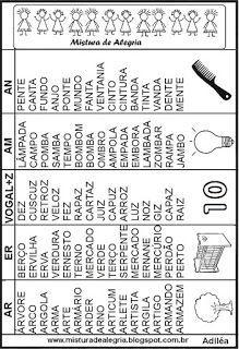 Fichas de leitura das sílabas complexas