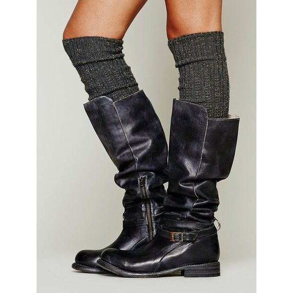 Free People Bed|Stü Bonnor Tall Boot ($100) ❤ liked on Polyvore featuring shoes, boots, botas, black rustic, knee-high boots, tall knee high boots, black zipper boots, free people boots, black boots and high boots