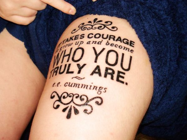 32 Excellent Font Thigh Tattoo Design for Female