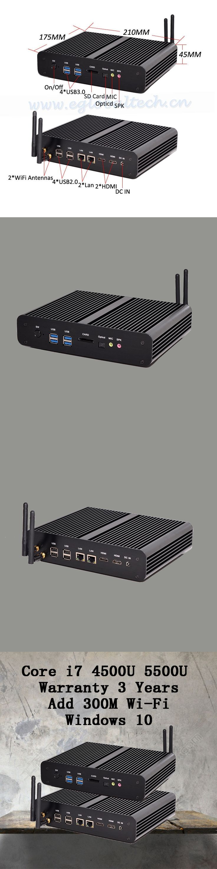 Mini PC Graphique HD 5500 Windows 2 HDMI Carte 4 K HTPC Mini-Itx Micro Intel Core i7 5500U mini computer 8G RAM best combination