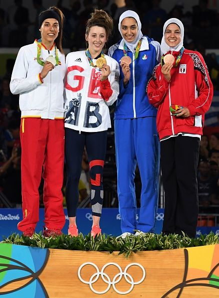 Silver medalist Spain's Eva Calvo Gomez gold medalist Great Britain's Jade Jones…