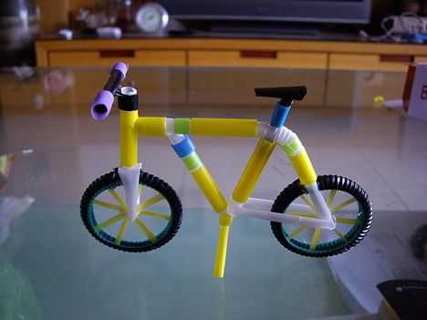 drinking straw bicycle {A Taiwanese artist called 'Peter' creates these colorful items out of plastic drinking straws.}