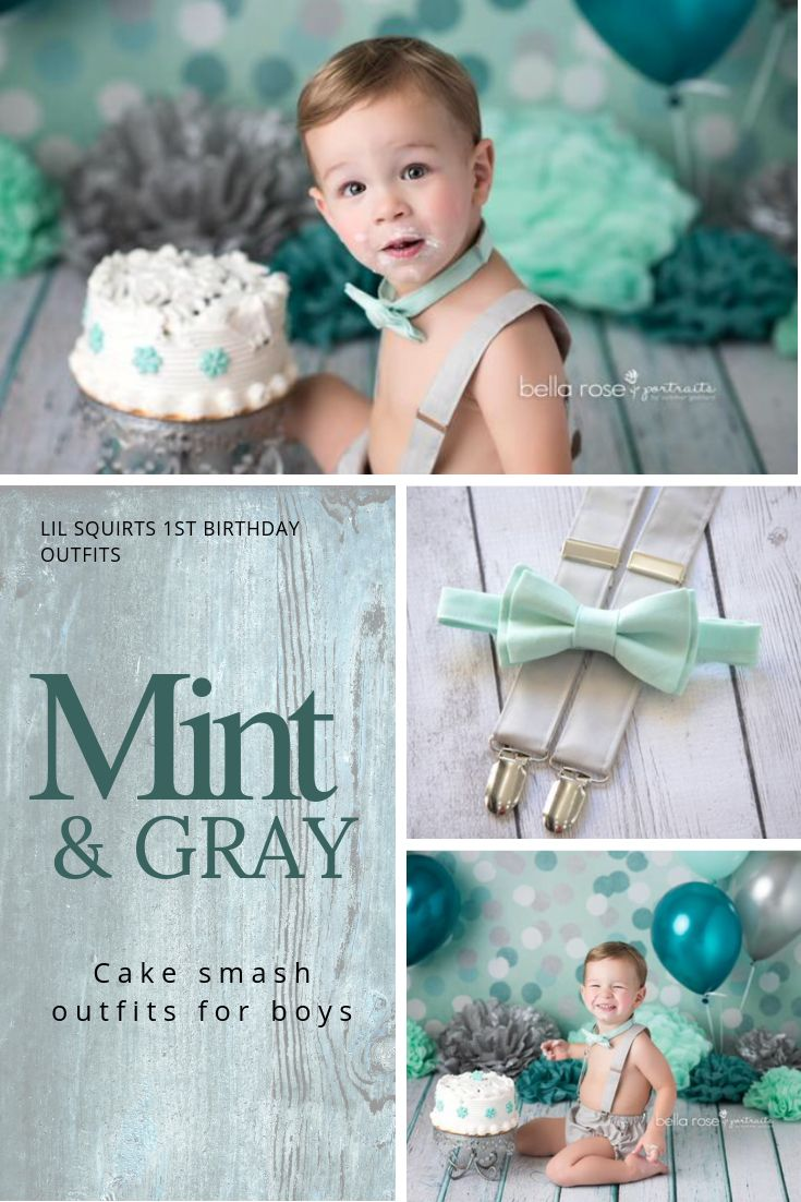 Outstanding Mint Cake Smash Mint First Birthday Boy Outfit Gray First Personalised Birthday Cards Petedlily Jamesorg