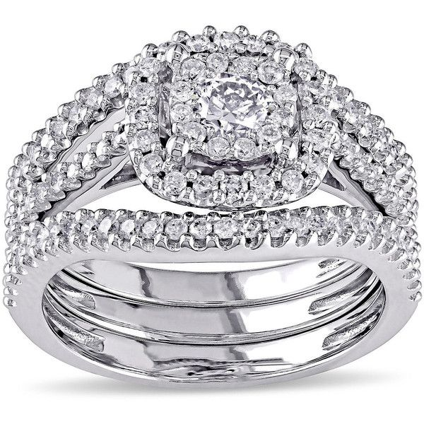 3/4 CT. T.W. Diamond 10K White Gold Bridal Ring Set ($6,500) ❤ liked on Polyvore featuring jewelry, rings, engagement set rings, bridal jewellery, round diamond ring, white gold diamond jewelry and diamond bridal rings