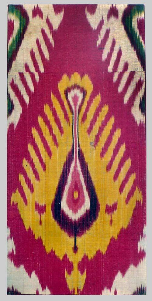 Ikat Panel (mounted)   Cotton warp silk weft  Uzbekistan Circa 1880.  Measurements: 25 in x 12 in - 64cms x 30cms