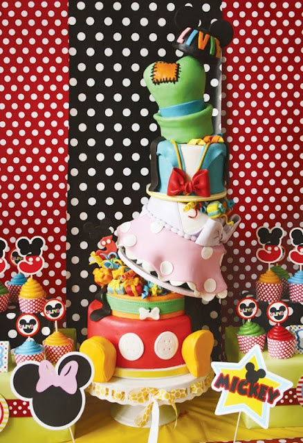 Mickey Mouse Disney Carnival Party with a 7 TIER TOPSY TURVY cake