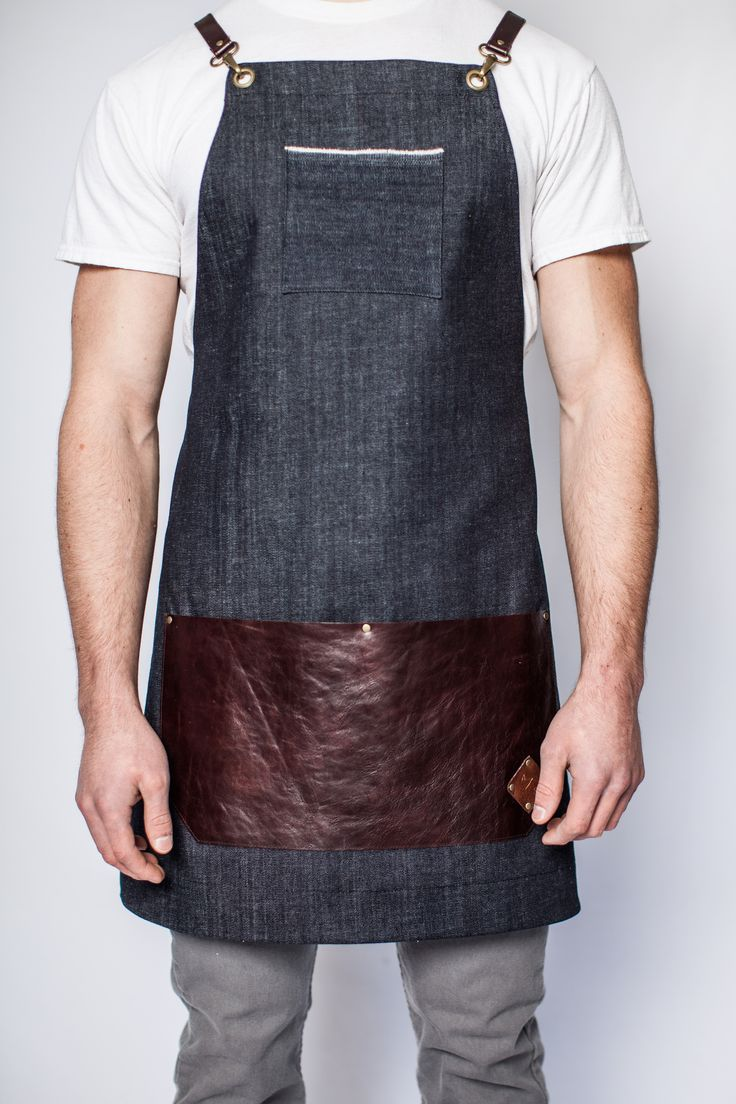 denim and leather apron - industrial - men - barista - woodworker - artist - hipster - unisex - cross straps - made in usa - handmade - manly