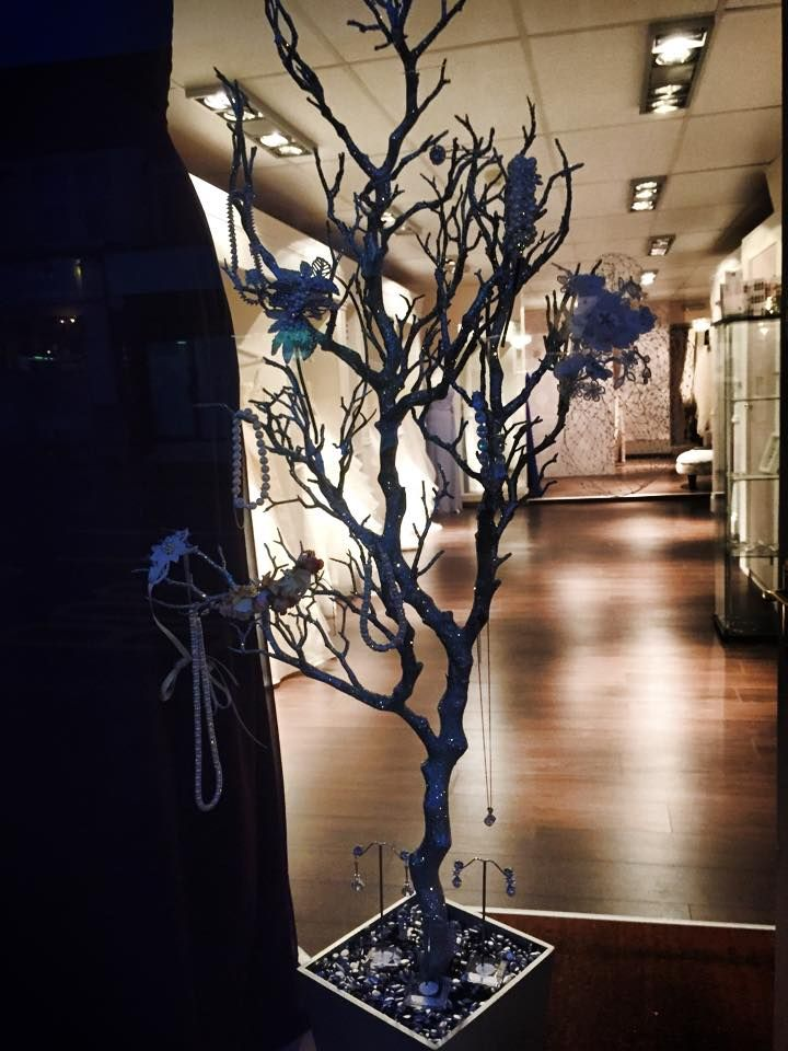Our Silver Jewellery Tree on the Shop Window
