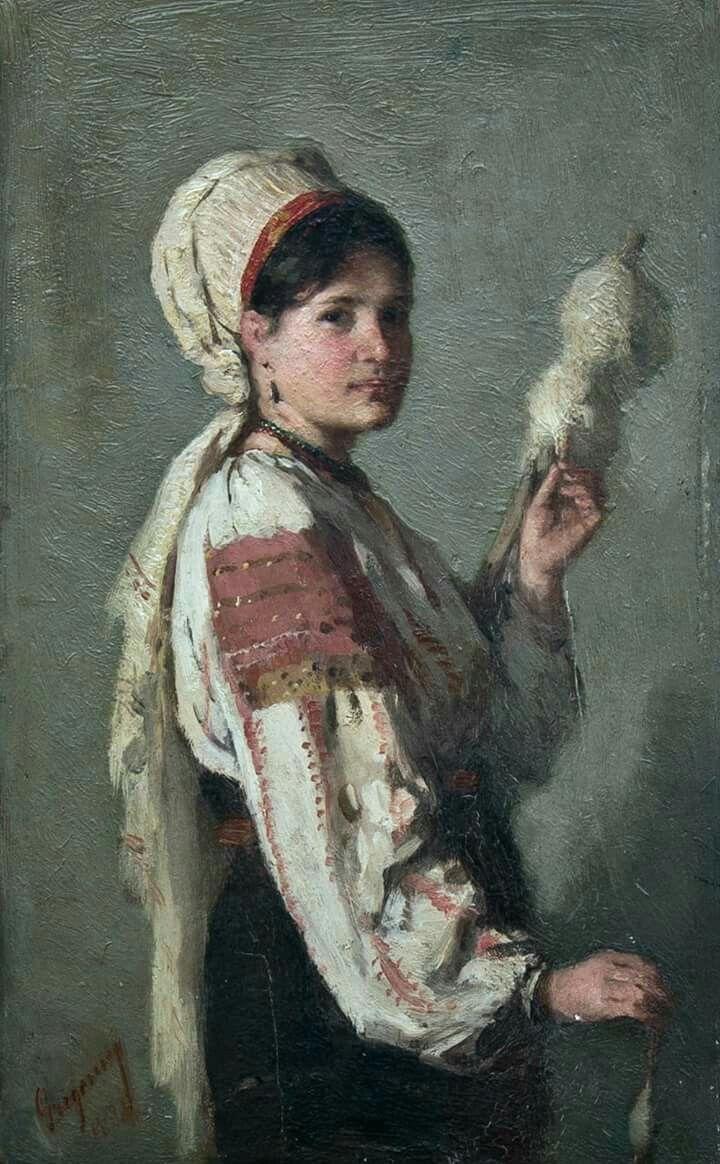 Nicolae Grigorescu - Taranca torcand
