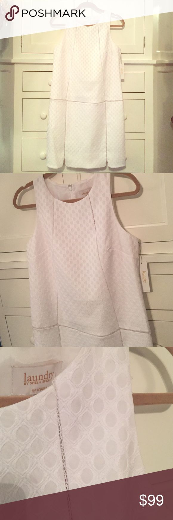 New! Laundry Dress Brand new with tag! Beautiful white eyelet fabric with intimate detail and slightly scalloped hem. In perfect condition Laundry by Shelli Segal Dresses
