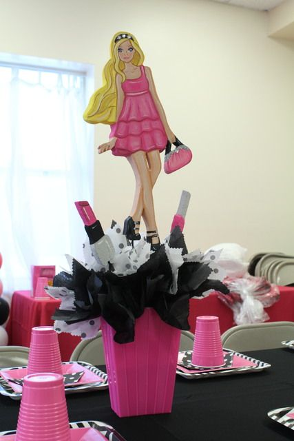 Cute centerpieces at a Barbie Fashionista Birthday Party!  See more party ideas at CatchMyParty.com!