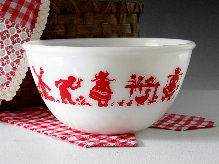 Vintage Mixing Bowl Dutch Tulips Windmill Hazel Atlas Red Fired On Milk Glass Serving Bowl HTF MINT 1950s