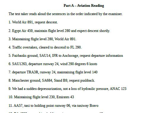 ICAO test prep part A aviation reading PDF download