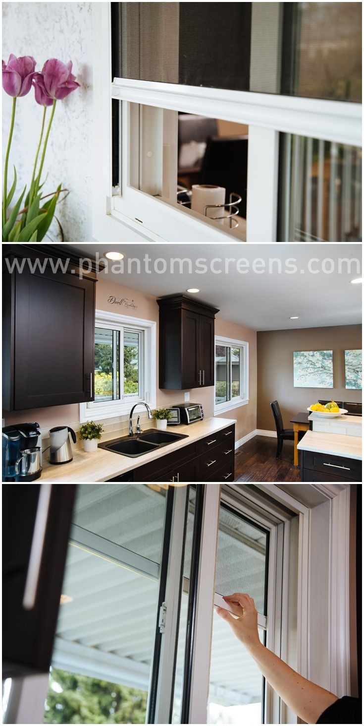 Retractable window screens - great idea for the kitchen window! #phantomscreens #retractablescreens #windowscreens #kitchen #kitchendesign