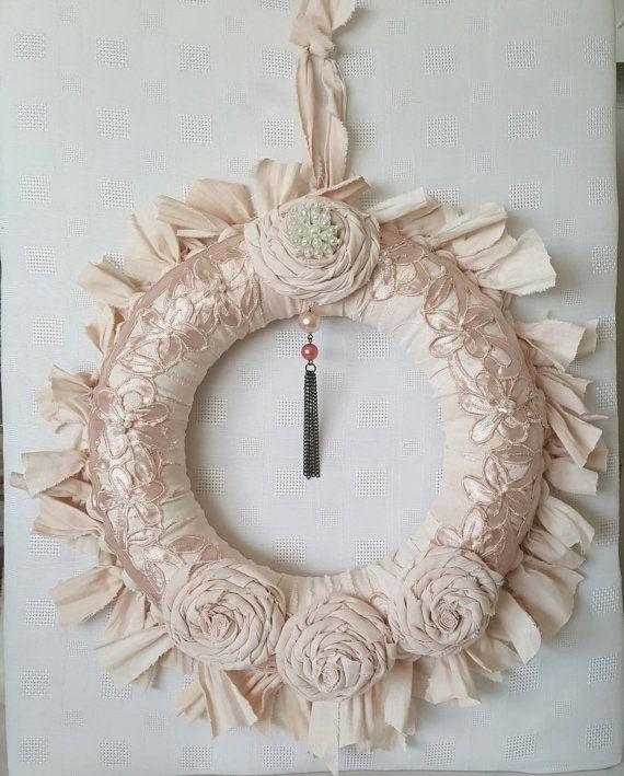 Shabby Chic Rag Wreath  Wreath  Fabric Wreath by Chiclaceandpearls