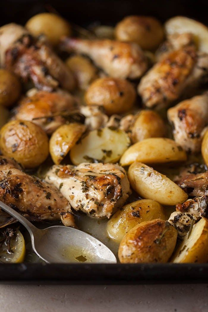 roast chicken in white wine, herbs and garlic