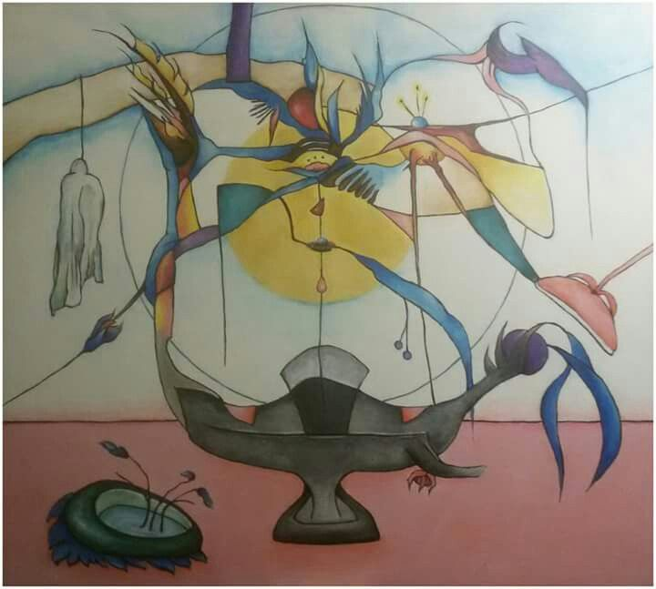 """Silvie Kreiselová """"Poslední přání"""" Acryl 80x90."""