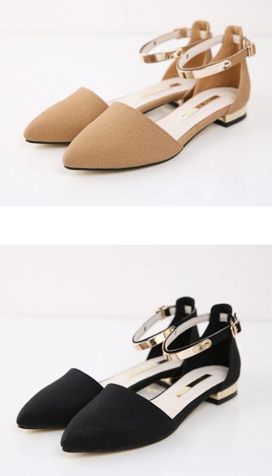 StyleOnme_Pointed Flats with Straps #strapshoes #shoes #flat #maryjanes #suede