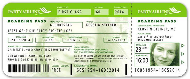 """Einladungskarten - Einladungskarte Geburtstag """"Boarding Pass"""" + Bild! - ein Designerstück von 1001karte-de bei DaWanda"""
