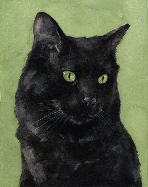 Black Cat Watercolor Painting 5x7 Print by studiotuesday on Etsy