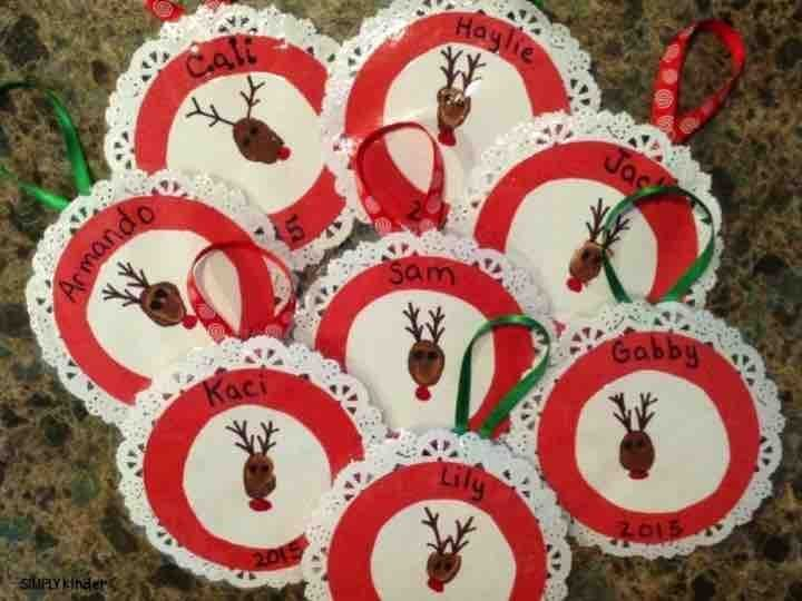 Reindeer fingerprint ornament on a cute little lace circle! Great ornament for a parent or family gift from your students!
