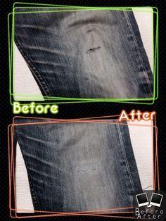 Levi'sリーバイスデニム膝穴修理 裏当て補強して、ミシンで修理しています。