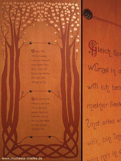 """Tafelbild """"Auf dem Weg"""" mit Lyrik, Zwei ketlische Bäume als Sinnbild für Pforte, Tor, Durchgang, Acryl auf Holz // Panel painting with lyric poetry, two celtic trees as a symbol for portal, door, passage   Liturgical Art"""