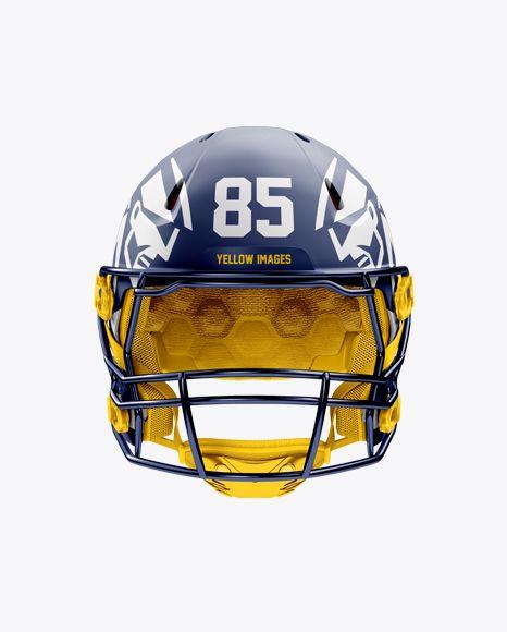 Matte American Football Helmet Mockup - Front View
