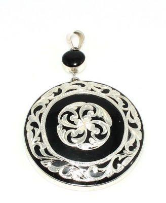 925 Ayar Gümüş Erzurum Oltu Taşı Sarmaşık Desenli Kalemli Kolye Ucu, Yuvarlak
