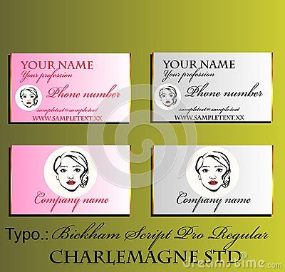 Decorative business card with fictional female portrait.  Ideal for beauty salons and hairdresser`s.