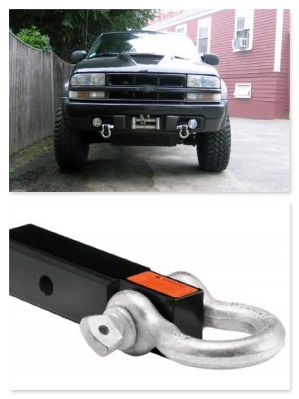 """#Chevy S10 ZR2 Receiver Tube Package fits Blazer Sonoma Jimmy - Description Fit Chevy/GMC Blazer, #S10, #Sonoma, and Jimmy Recover your #truck safely instead of snapping stock tow hooks. Made specifically for #ZR2 models, but will fit non-ZR2 models by drilling two additional holes in each frame rail. Includes: (2) 2"""" x 12"""" receiver tubes tapped to be mounted in the location of the stock tow hooks and skid plate (8) bolts (8) washers (2) Smittybilt Receiver Shackles"""