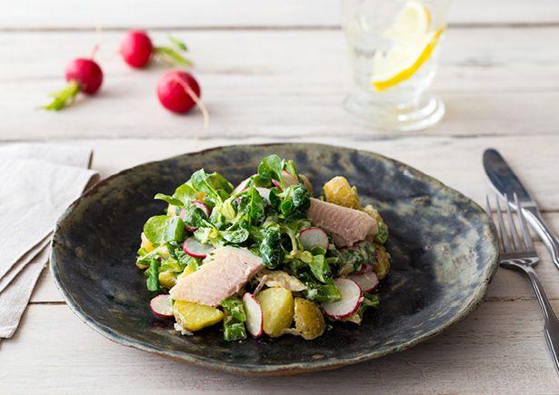 Hollandse aardappelsalade met gerookte forel en yoghurtdressing