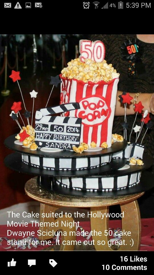 2014 For my Sister's 50th I organized a surprise party themed on a Hollywood Movie Premier night. So the cake I made fired the part perfectly with two cake movie reels and a popcorn box cake to top it all off!