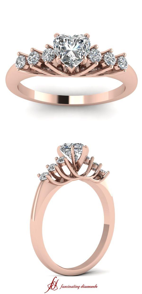 Circular Trellis Ring ||  Heart Shaped Diamond Side Stone Ring With White Diamond In 14K Rose Gold